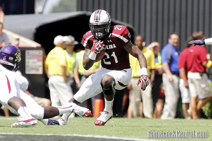 Staff Photo by Chris Gillespie: Marcus Lattimore scored his 33rd career touchdown against the Pirates.