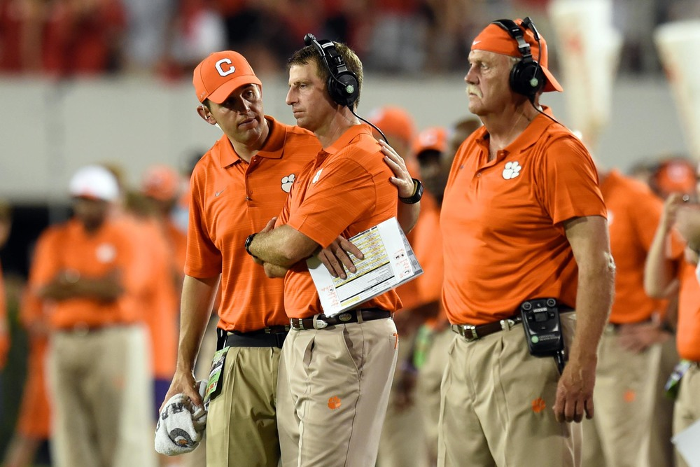 Don't start crying now, Dabo. We all know that once you start, you can't stop. (photo from USATSI)