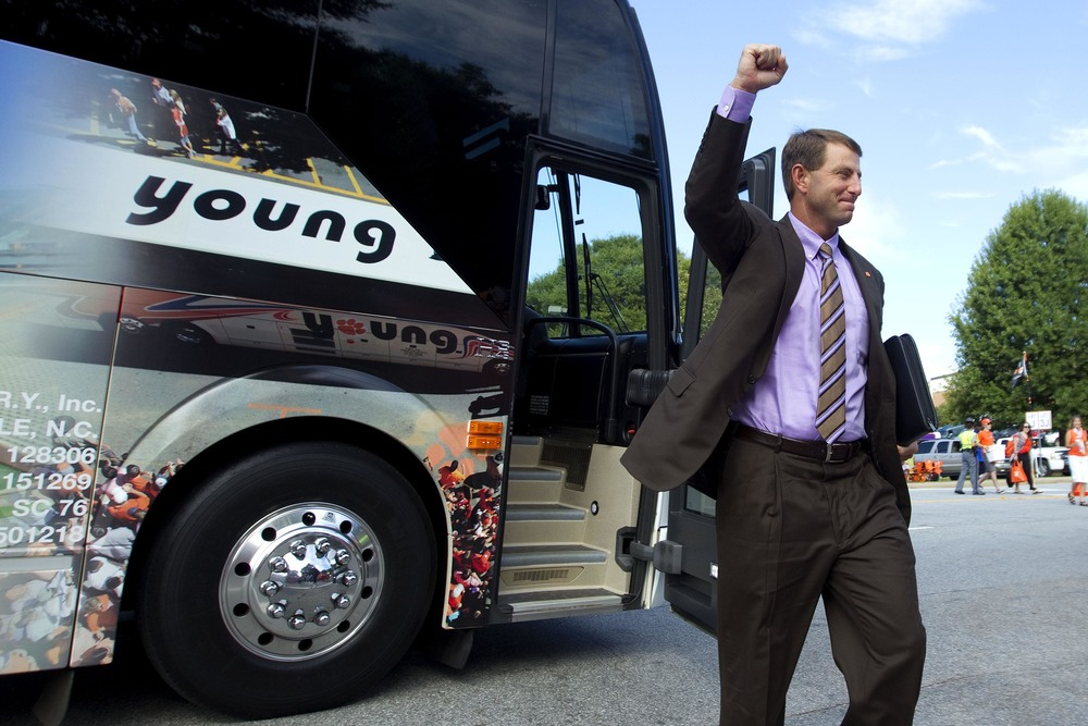 Dabo pumped his fist with relief. His suit didn't get wrinkled at all on the bus ride. His momma would be so proud.