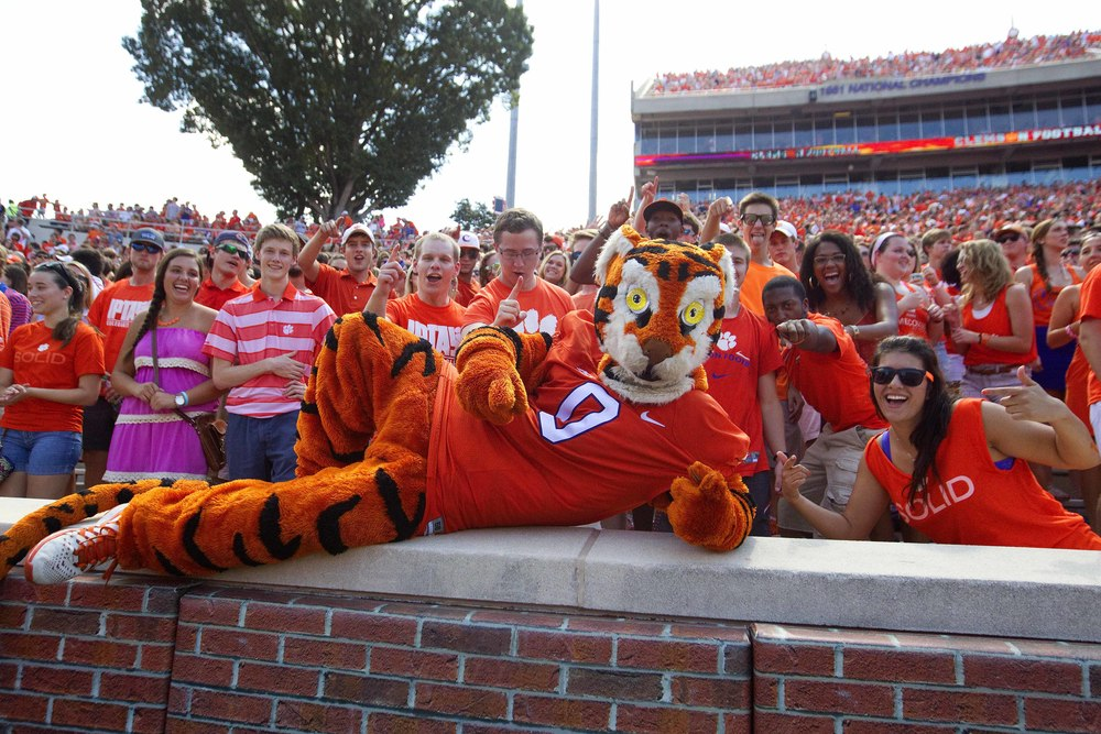 I wish I could say this was the first time a Clemson grad tried to seduce me in a tiger suit. I wish I could say that.