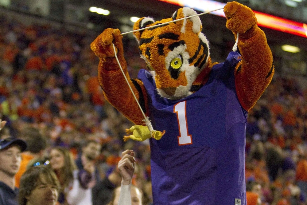 Jesus, Clemson's mascot is so creepy. He looks like one of those old wool dolls you'd find in an antique store owned by racists.