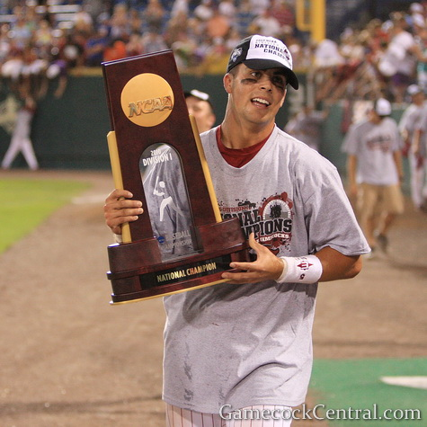Staff Photo by Paul Collins: Whit Merrifield's RBI single gave South Carolina the national title.
