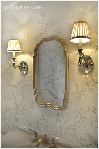 Hand painted chinoiserie powder room with gilded ceiling