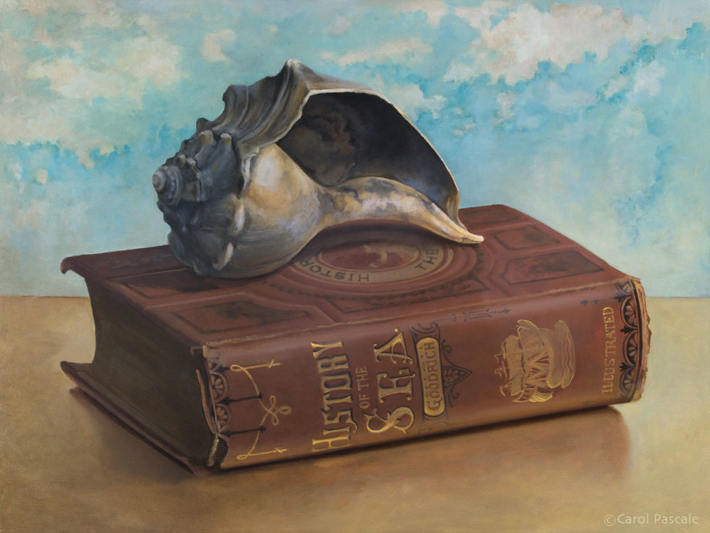 History of the Sea with Shell - Original Oil Painting