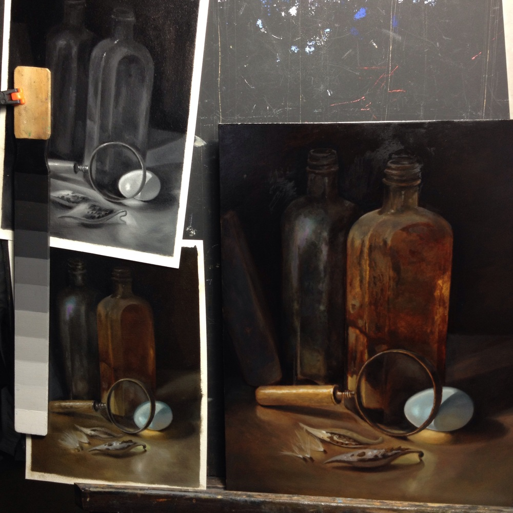 "Value and color studies (left) for a 12"" x 9"" oil painting on panel in progress (right)"