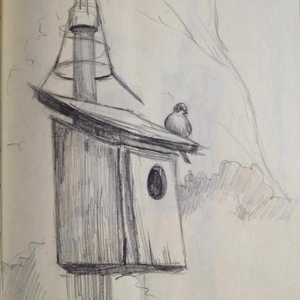 A bird on a birdhouse