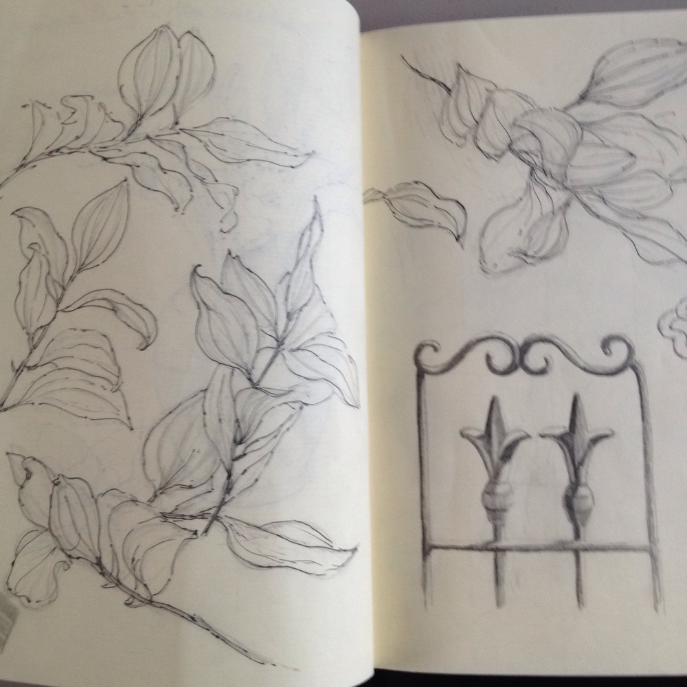 Leaf and trellis sketches