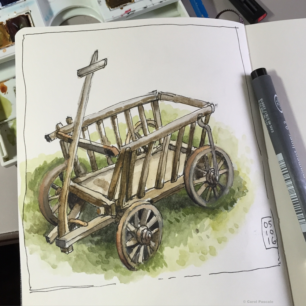 Little old cart watercolor sketch