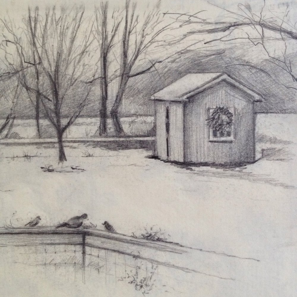 Shed in the snow at Christmas