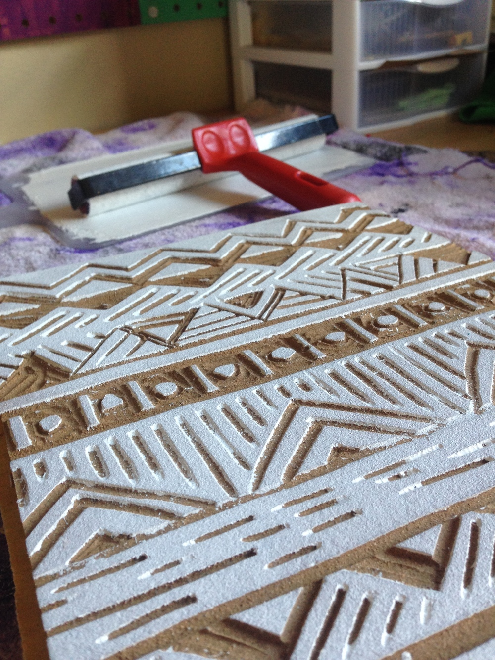 A newly carved block, ready to be inked