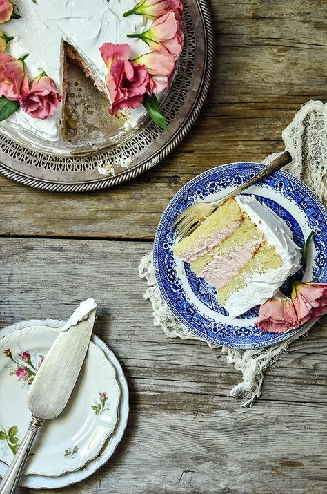 White Layer Cake with Strawberry Buttercream, Heart of Gold (a favorite from my old site)