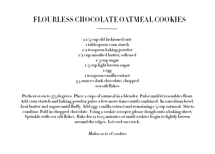 ROSE & IVY JOURNAL FLOURLESS CHOCOLATE OATMEAL COOKIES