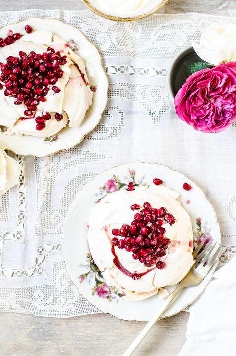 Pomegranate Rose Meringues