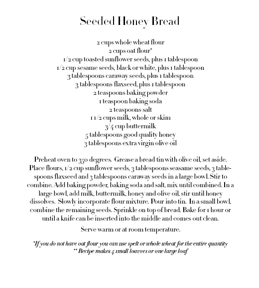 ROSE & IVY Journal Seeded Honey Bread