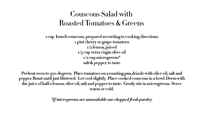 rose & ivy journal couscous salad with roasted tomatoes and greens