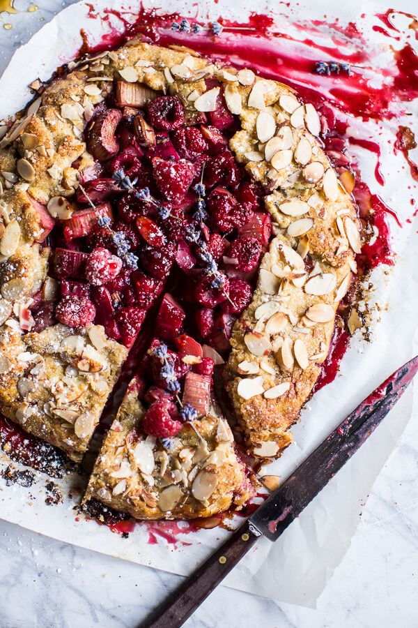 Lavender Honey and Raspberry-Rhubarb Galette via Half Baked Harvest
