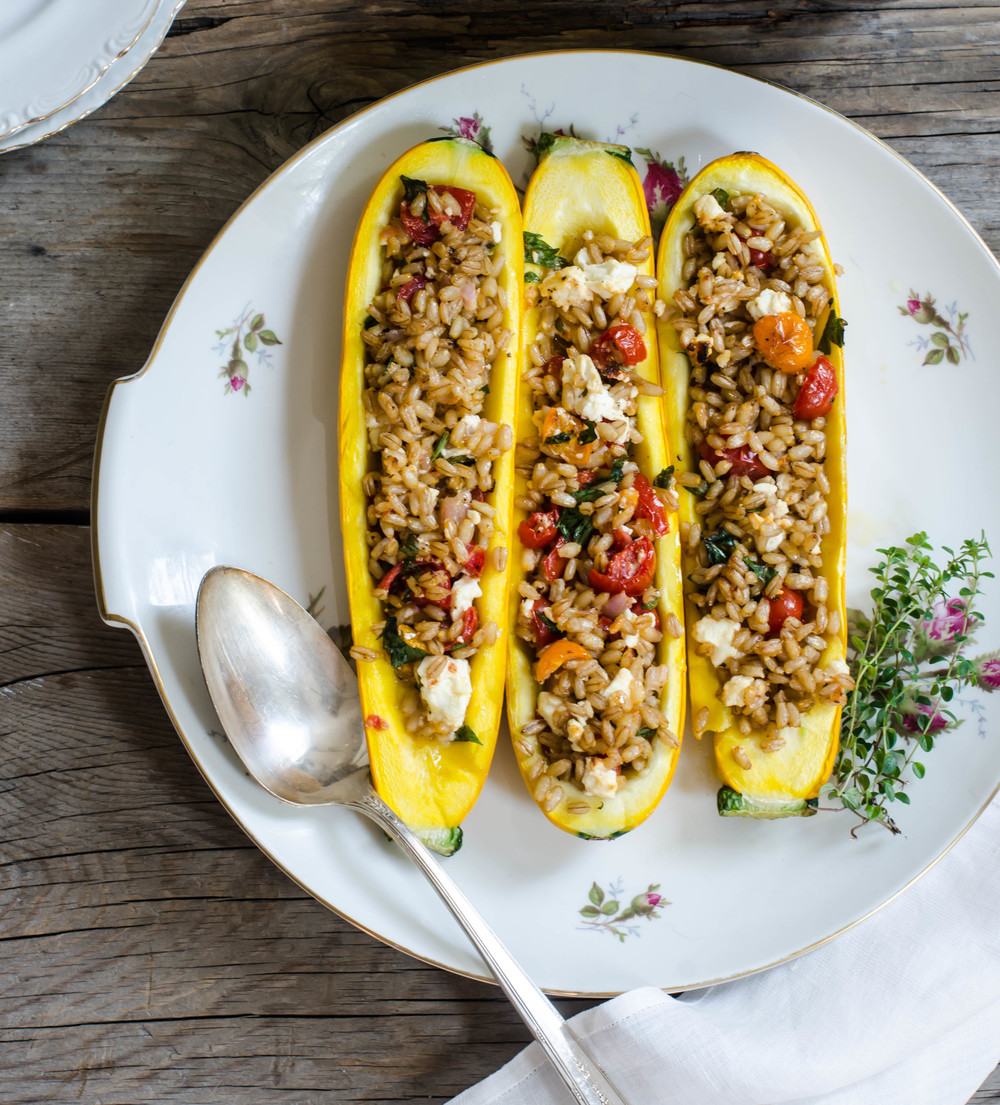 Squash filled with Barley & Feta