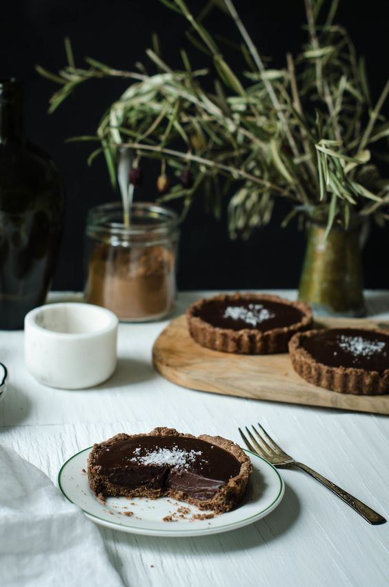 Chocolate Ganache Tart with Chocolate Olive Oil Crust, ROSE & IVY Journal , see recipe below