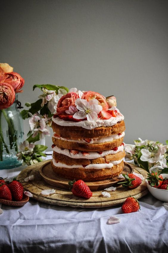 Strawberry Milk Tres Leches Cake via  Twigg Studios