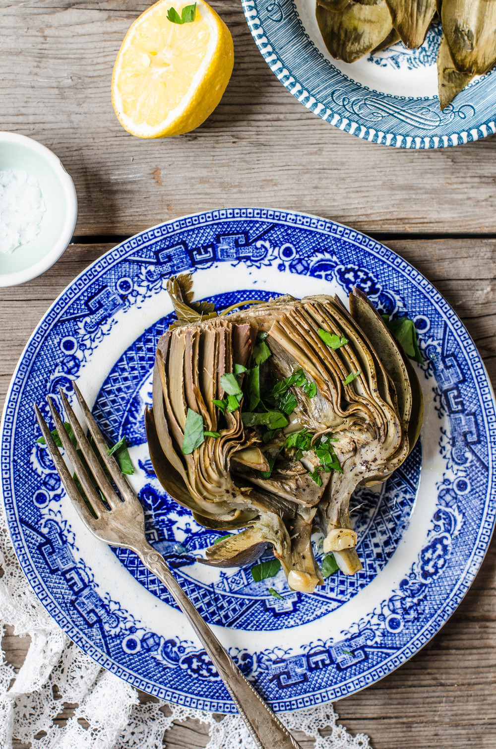 ROSE & IVY Journal Braised Artichokes with Lemon, Garlic & Parsley