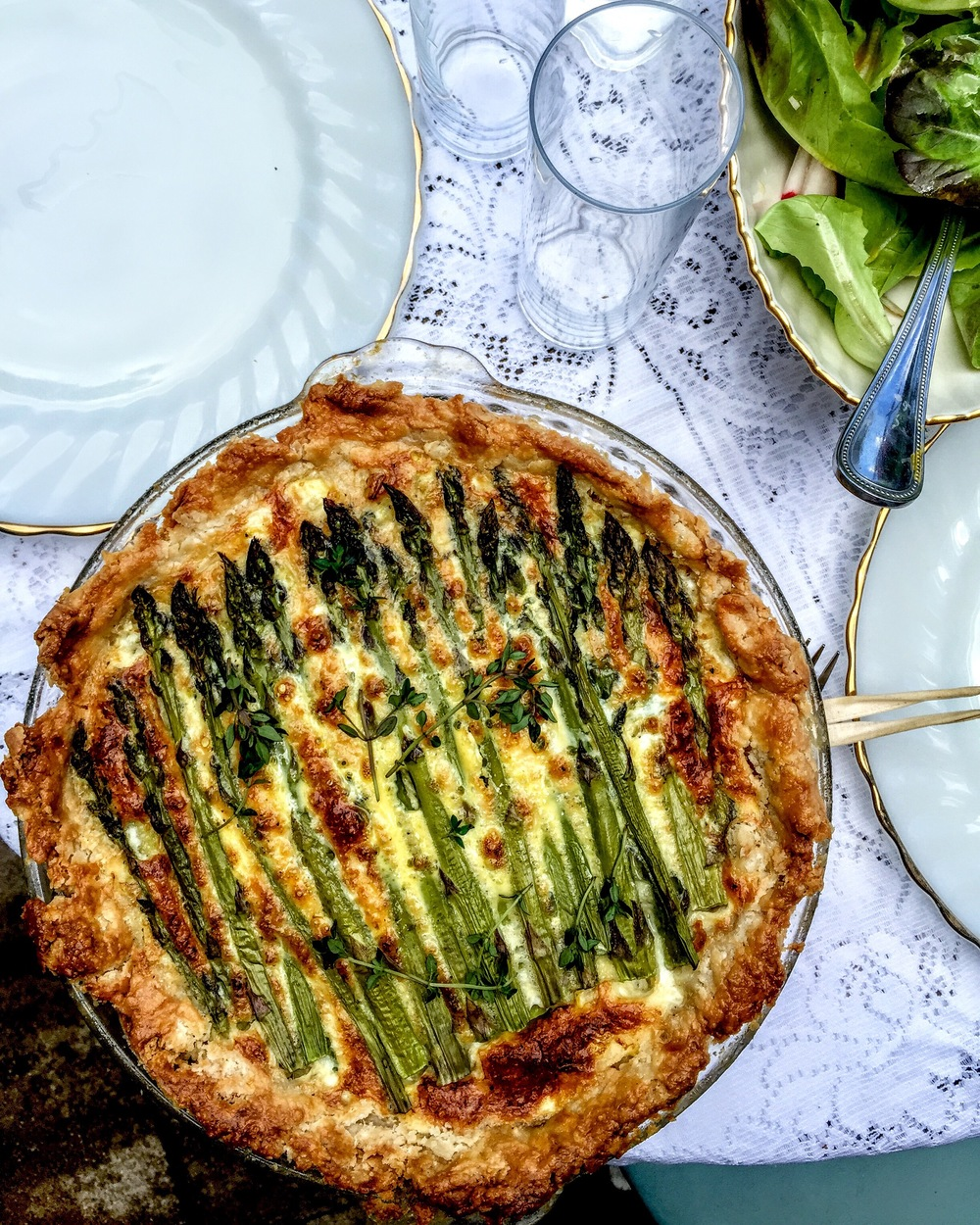 Leek Gruyere and Asparagus Quiche, a staple for Mother's Day brunch