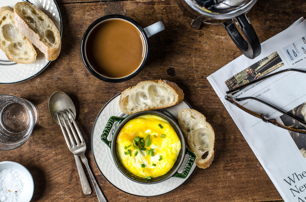 ROSE & IVY Journal Baked Eggs with Goat Cheese for One