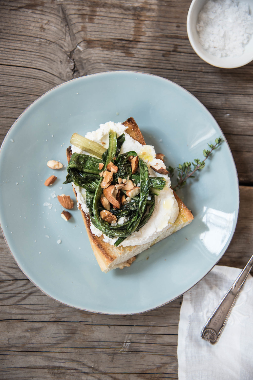 ROSE & IVY Journal Get to Know Your Greens Dandelion _ Dandelion Ricotta Toasts with Almonds