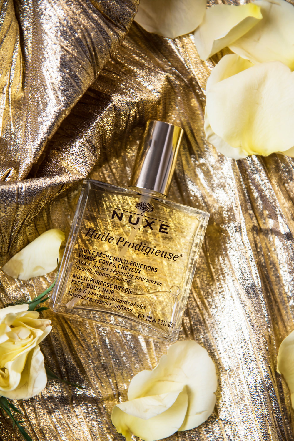 ROSE & IVY Journal Gift Guide The Mood Gold & White UXE Huile Prodigieuse Multi-Purpose Dry Oil