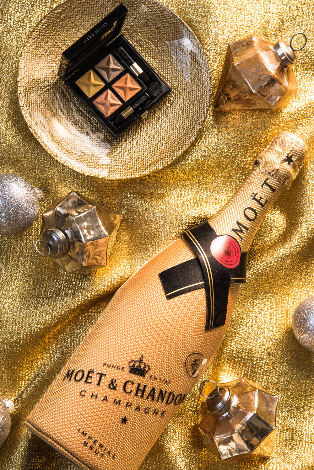 ROSE & IVY Journal Holiday Gift Guide Gold Moet Chandon & Givenchy