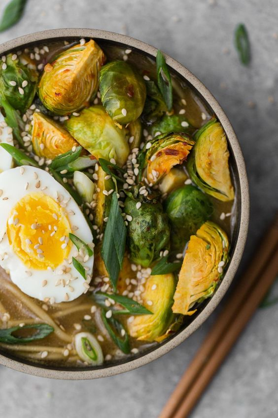 Vegetarian Ramen with Spicy Brussel Sprouts , via Naturally Ella