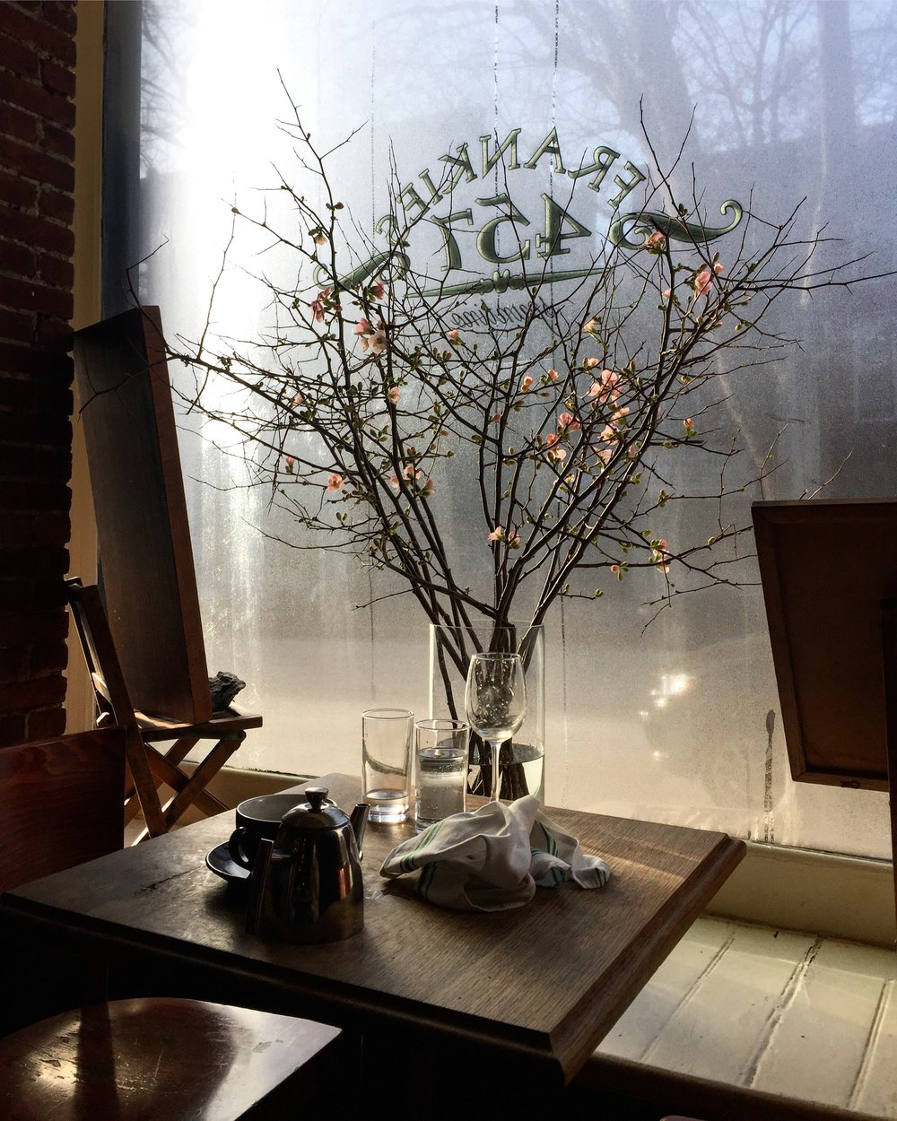 Steamy windows and blooming quince at  Frankie's 457