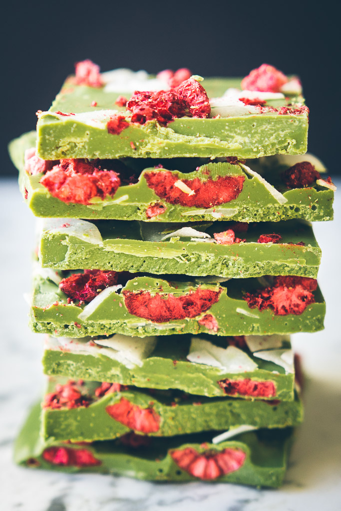Matcha White Chocolate Bars via Milly's Kitchen