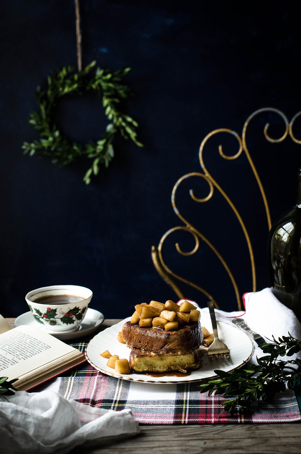 Challah French Toast with Maple Apple Compote -