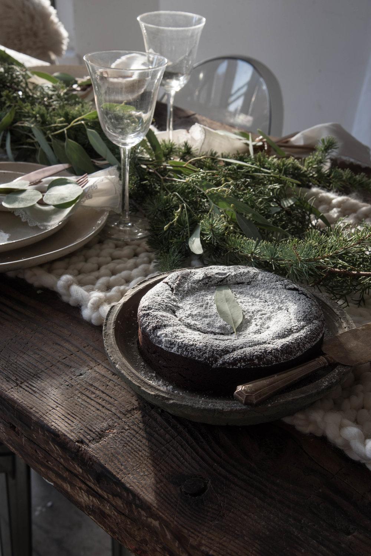 Dark Chocolate Flourless Peppermint Cake -