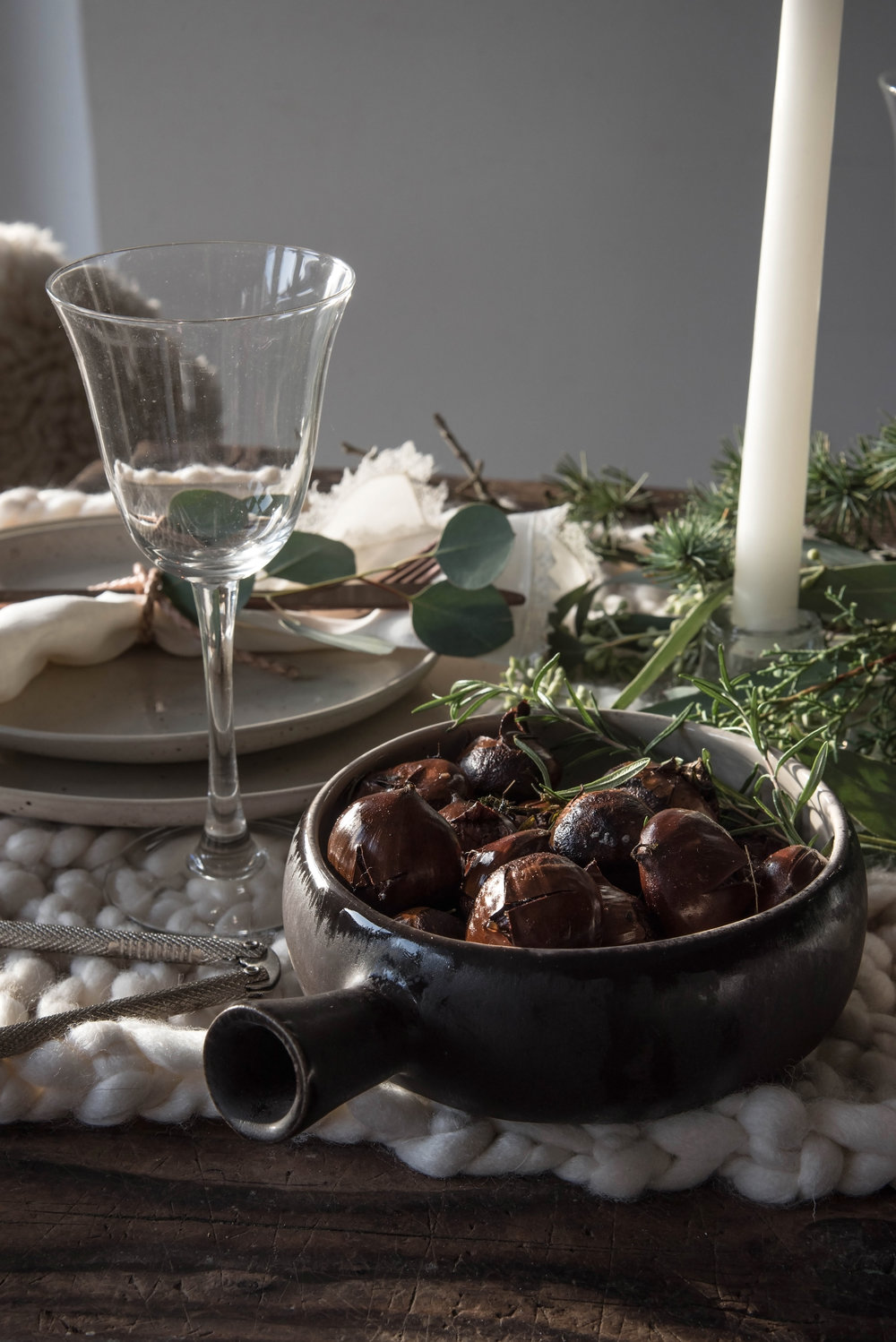 Roasted Chestnuts with Rosemary & Thyme -