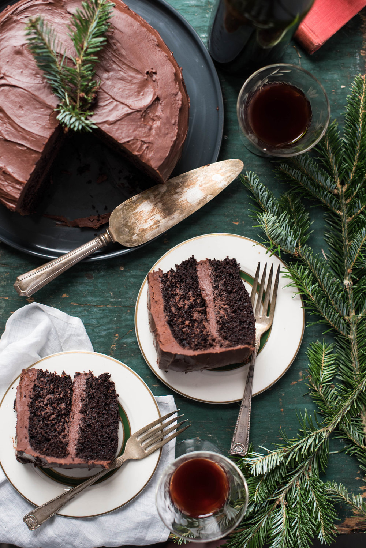 Dark Chocolate Peppermint Cake with Ganache Frosting -