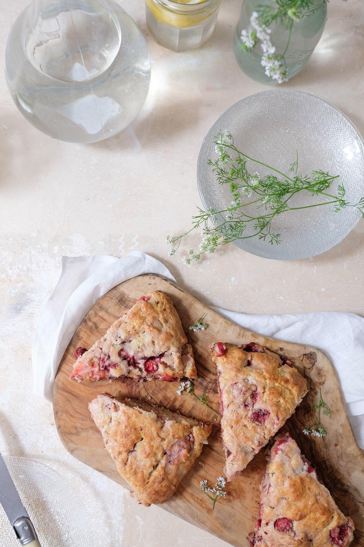 ROSE & IVY Journal Strawberry Rhubarb Scones