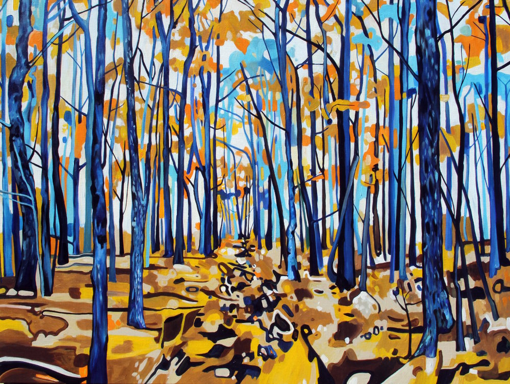 Klimt Maple Path (2016) 48x36 acrylic on linen Taralee Guild (low res).jpg