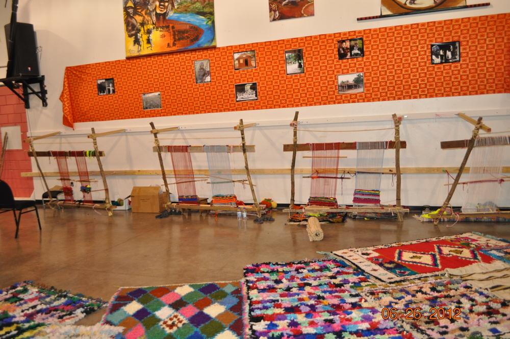 Moroccan rug weaving.