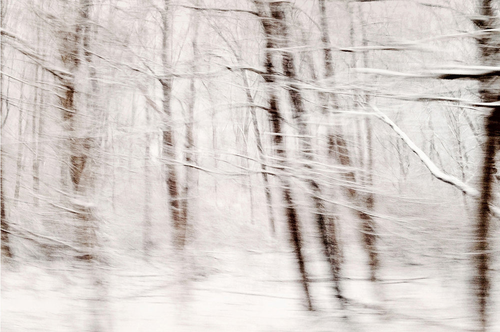 "Winterscape 9  27 x 32"" Archival Pigment Print on Hahnemühle German Etching Fine Art Paper, Rising Museum Acid Free Mounting Board, Acrylite Non-glare UV Filtering Plexi-glass. Oak Custom Frame"