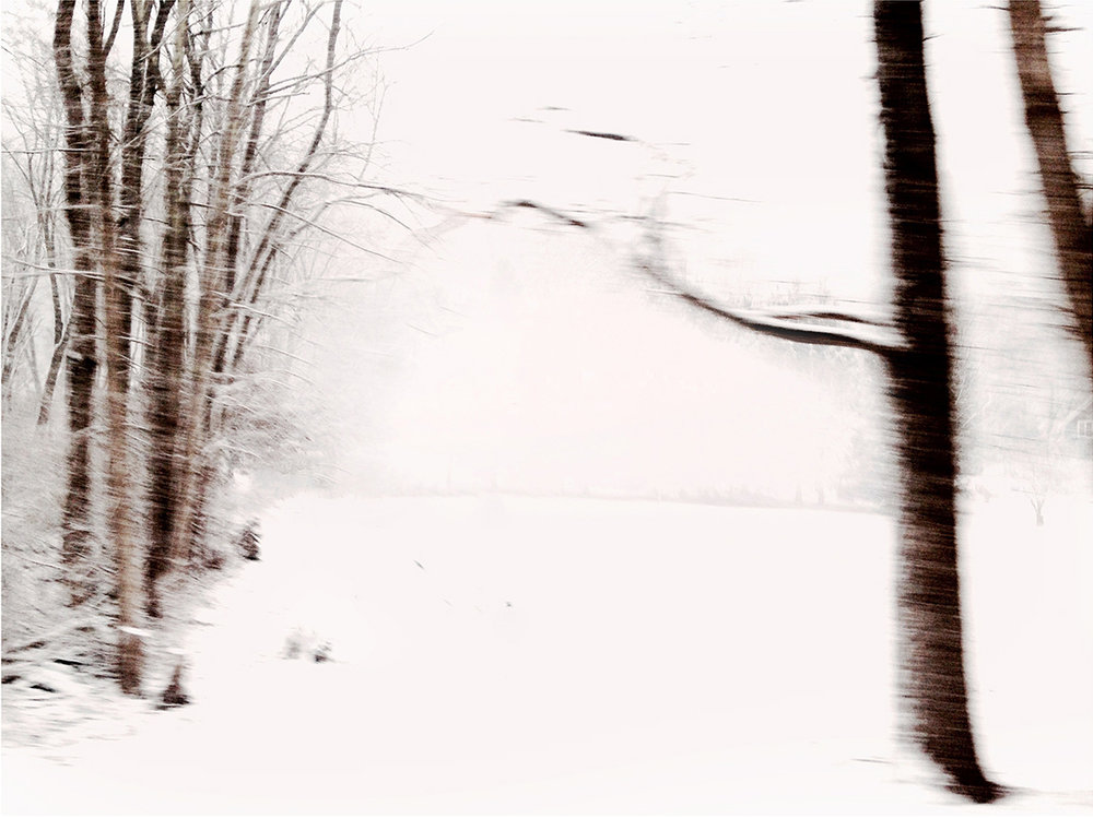 "Winterscape 12  29 x 32"" Archival Pigment Print on Hahnemühle German Etching Fine Art Paper, Rising Museum Acid Free Mounting Board, Acrylite Non-glare UV Filtering Plexi-glass. Oak Custom Frame"