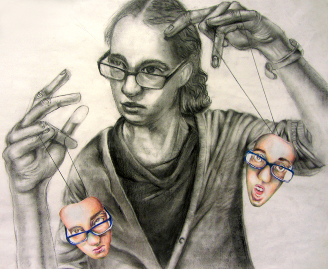 A self portrait. I am outward about expressing my feelings, and have control over them. Charcoal, Colored Pencil. 18 X 24.