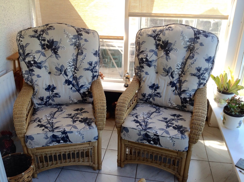 Two chairs with new foam seat & hollowfill back interiors.