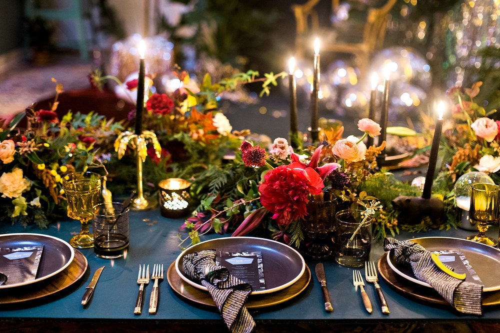 Moody Table Top published on The Venue Report - The moody light, rich, jewel toned florals, and endless tabletop details had me completely over the moon!
