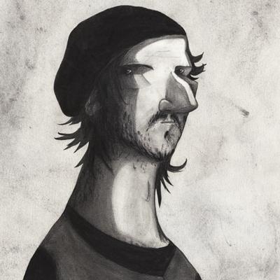 Yann Leon, par Enzo Lord Mariano. Fusain.