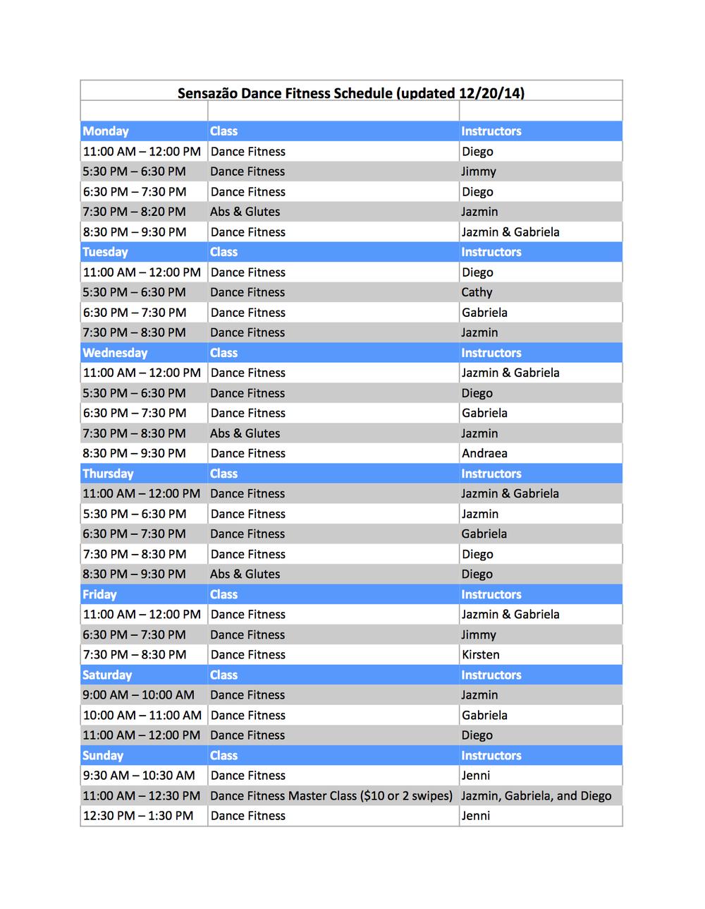 Schedule 12/20/14
