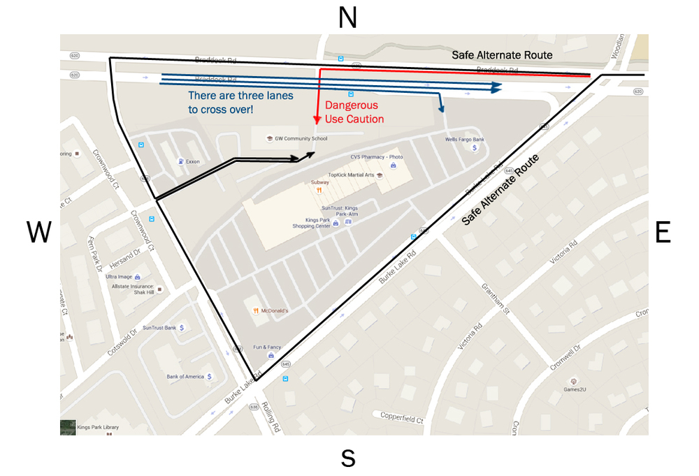 Click to view alternative ways into GWCS parking lot.
