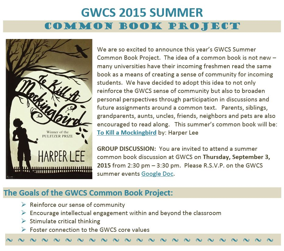 CLICK HERE to read about the GWCS 2015 Summer Common Book Project!