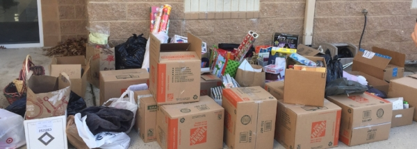 This is just one of multiple truck-loads of boxes, filled with goodies from GWCS families, delivered to Accotink Academy!