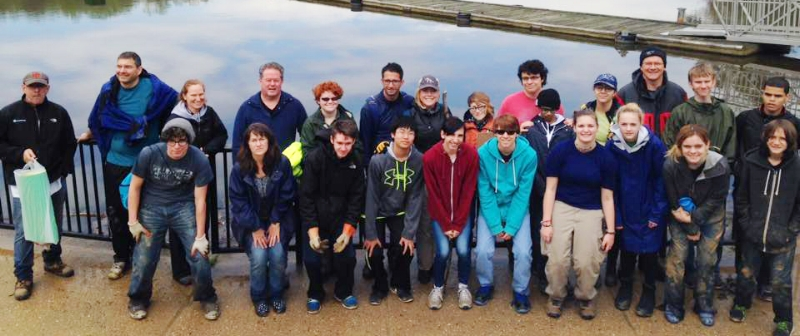 GWCS participants at Lake Accotink Watershed Cleanup in 2016